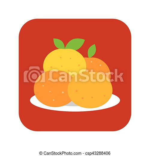 Vector Four Mandarin Orange In Plate Use Chinese New Year Flat Design