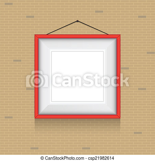 Vector frame for paintings or photographs on the brick wall ...