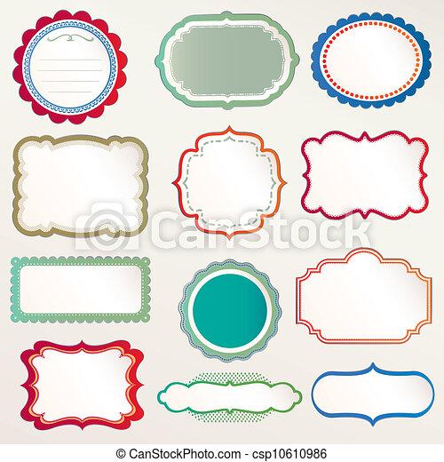 Vector Frame Set ornamental vintage - csp10610986