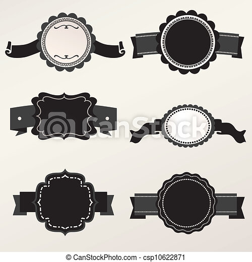 Vector Frame Set ornamental vintage - csp10622871
