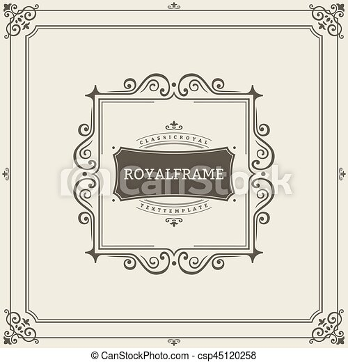 vector frame template vintage ornament greeting card flourishes