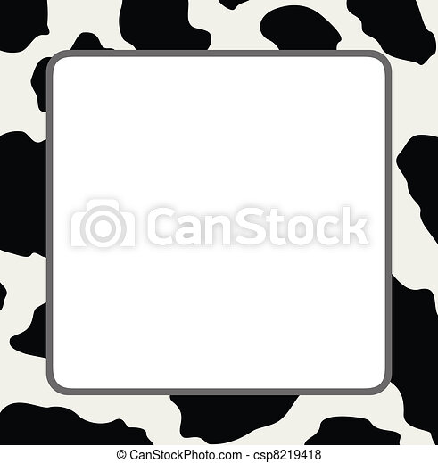 vector frame with abstract cow skin texture  - csp8219418