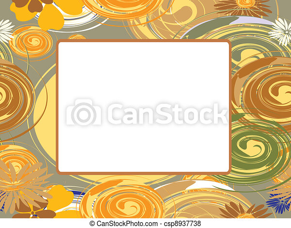 Vector frame with circles and flowe - csp8937738