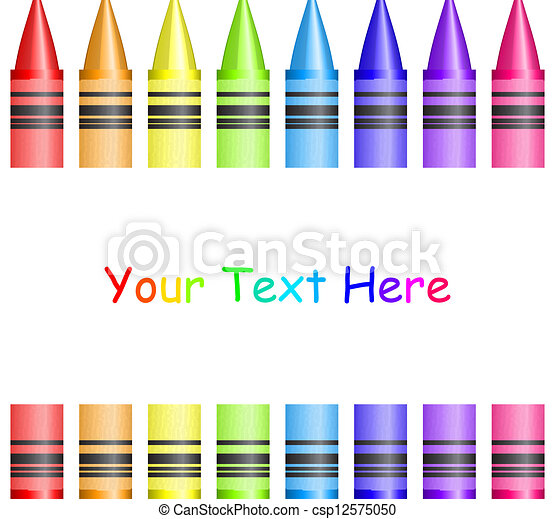 Vector frame with colorful crayons - csp12575050