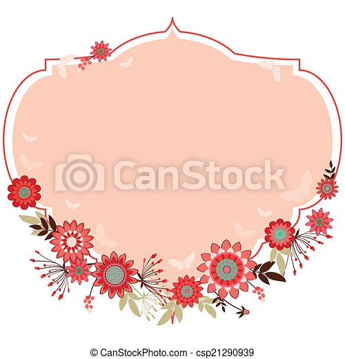 vector frame with flowers - csp21290939