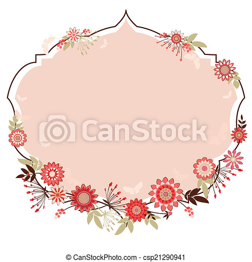 vector frame with flowers to - csp21290941