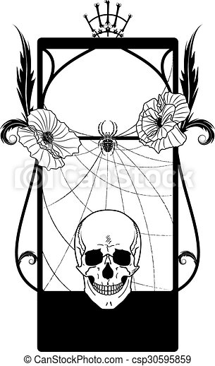 Vector frame with skull and poppies in black and white colors.