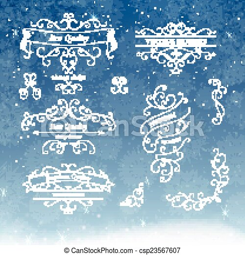 Vector Frames and Scroll Design Elements - csp23567607