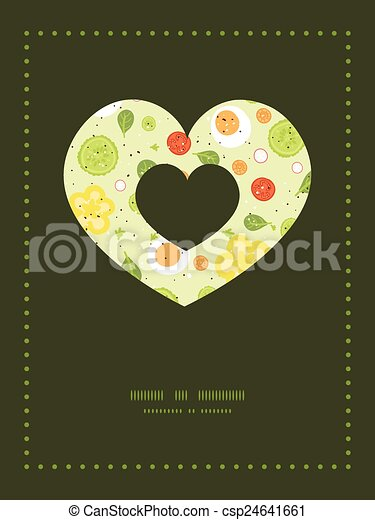 Vector fresh salad heart symbol frame pattern invitation greeting vector fresh salad heart symbol frame pattern invitation greeting card template stopboris Image collections