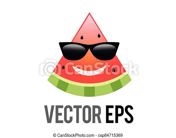 vector fruit watermelon red smiley face icon with black sunglasses - csp84715369