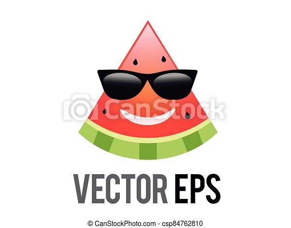vector fruit watermelon red smiley face icon with black sunglasses - csp84762810