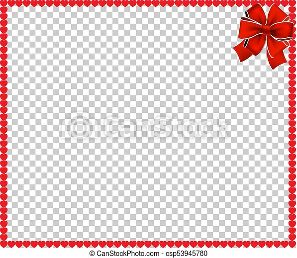 Vector Full Frame Border With Red Cartoon Hearts And Festive Ribbon