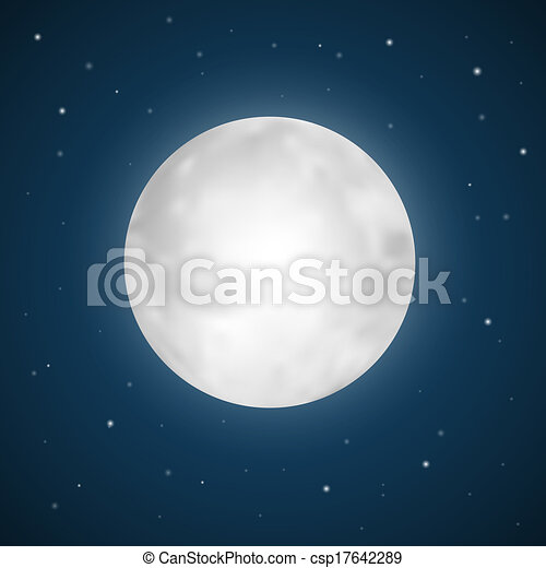 Vector Full Moon Illustration with Stars - csp17642289