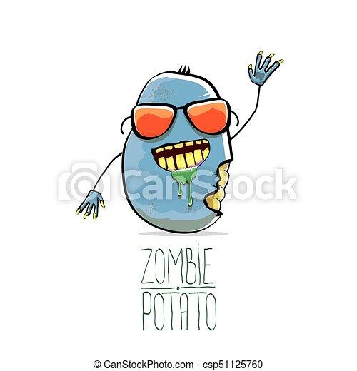 vector funny cartoon cute blue zombie potato isolated on clip art rh canstockphoto com funny happy halloween clipart