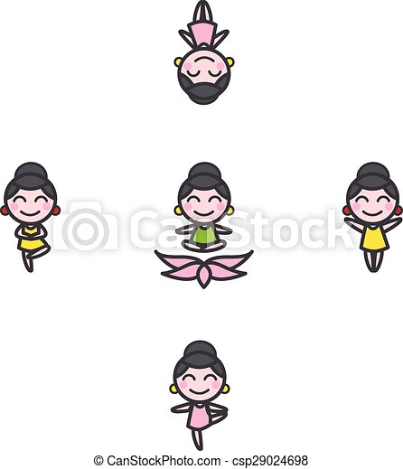 Vector Funny Cartoon Girl Mascot In Five Yoga Poses