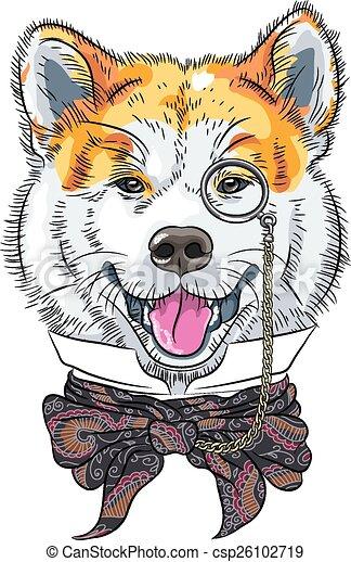 vector funny cartoon hipster dog Akita Inu - csp26102719