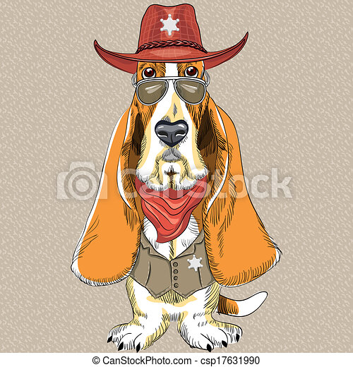 vector funny cartoon hipster dog Basset Hound - csp17631990