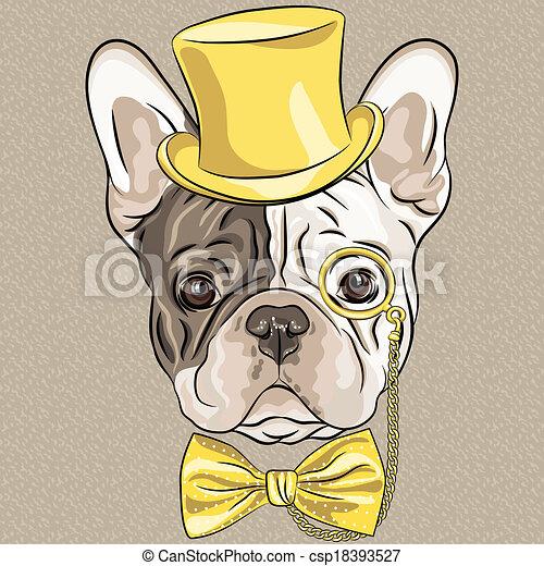vector funny cartoon hipster French Bulldog dog  - csp18393527