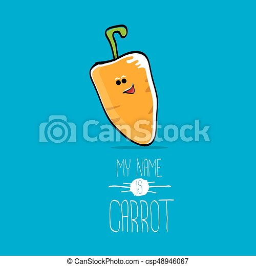 vector funny cartoon orange carrot character - csp48946067