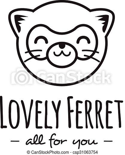 Vector funny cartoon polecat head logo. Line stle ferret logotype. - csp31063754