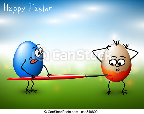 vector funny easter eggs happy easter card vector funny colorful