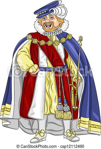 vector funny fairytale cartoon king smiles - csp12112490
