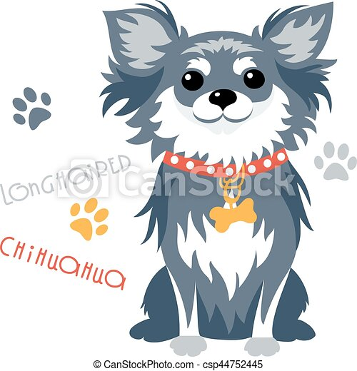 Vector funny longhaired Chihuahua dog sitting - csp44752445
