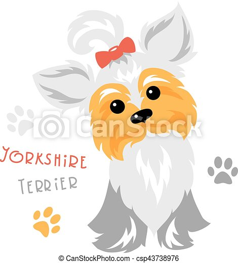 Vector funny Yorkshire terrier dog sitting - csp43738976