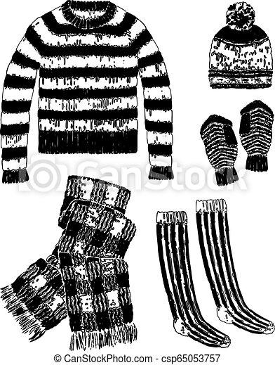 Imágenes de un conjunto de ropa de lana - csp65053757