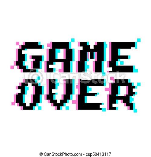 vector game over pixel glitch vector game over phrase in pixel art