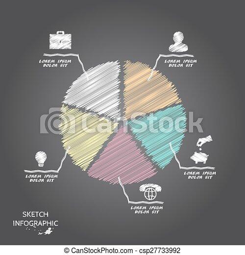 Elementos de bocetos de vectores para información gráfica. - csp27733992