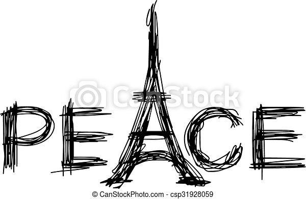 Vector de ilustración a mano dibujado de bocetos palabra paz con torre Eiffel. - csp31928059