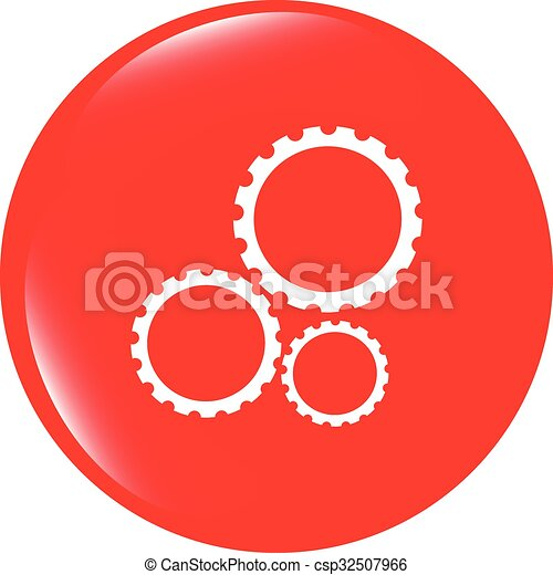 vector gears icon (button) isolated on a white background - csp32507966