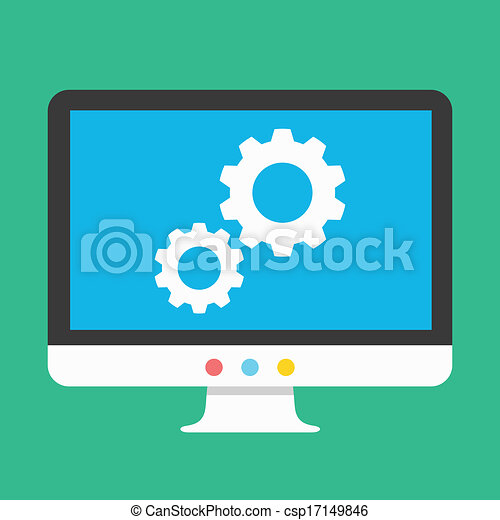 Vector Gears on Display Icon - csp17149846