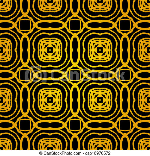 Vector geometric art deco pattern with gold shapes - csp18970572