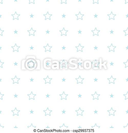 Vector geometric blue seamless pattern. Stars simple background - csp29937375