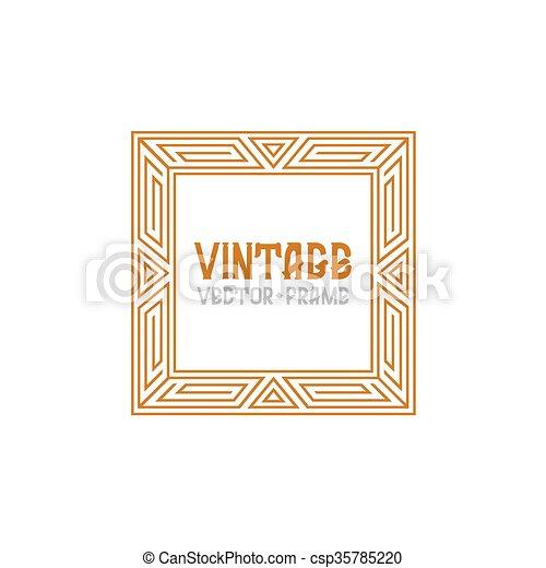 Vector geometric linear style frame - vintage text decoration. monogram.