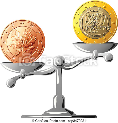 Vector German Currency Versus Greek Euro Concept Of An German Coin