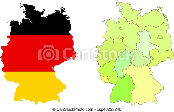Map Of Germany Regions.Vector Germany Map With Colorful Regions Borders And Flag Isolated On White