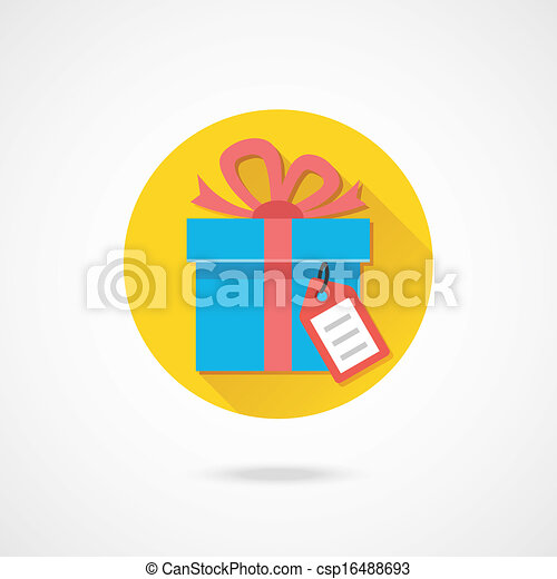 Vector Gift with Tag Icon - csp16488693
