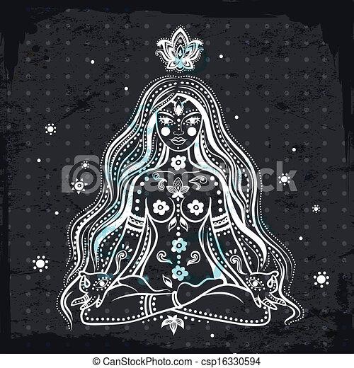 Vector girl meditating - csp16330594