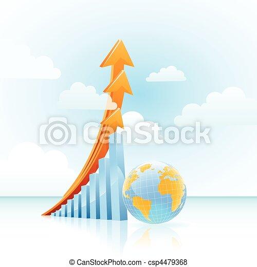 vector global growth bar graph  - csp4479368