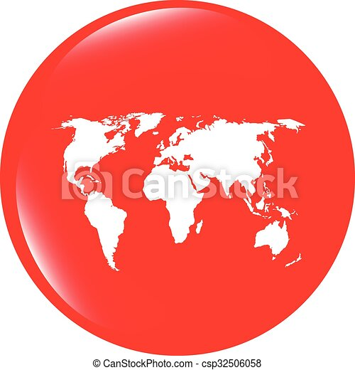 Vector globe icon earth world map on web button vector globe icon earth world map on web button gumiabroncs Image collections