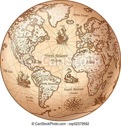 Vector globe vintage world map Vector globe featuring a clip art