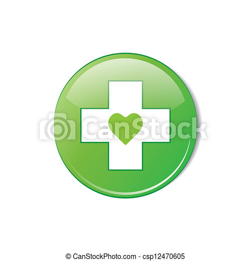 Vector glossy green round heart button. - csp12470605