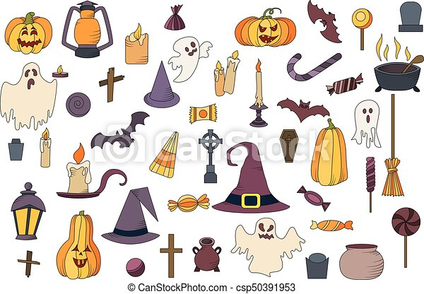 Vector goast, pumpkin, hat icons. set of hallowen elements ...