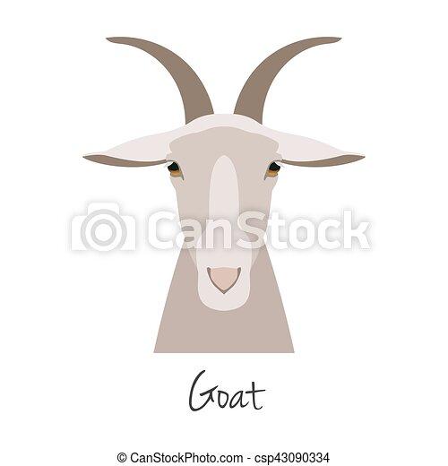 Vector goat head isolated. Flat, cartoon style object - csp43090334