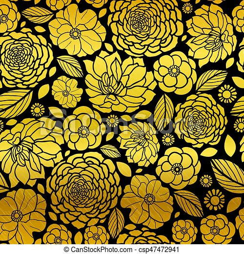Vector Gold And Black Mosaic Flowers Seamless Repeat Pattern Background Design Great For Elegant Wedding Invitations Anniversary Packaging Fabric