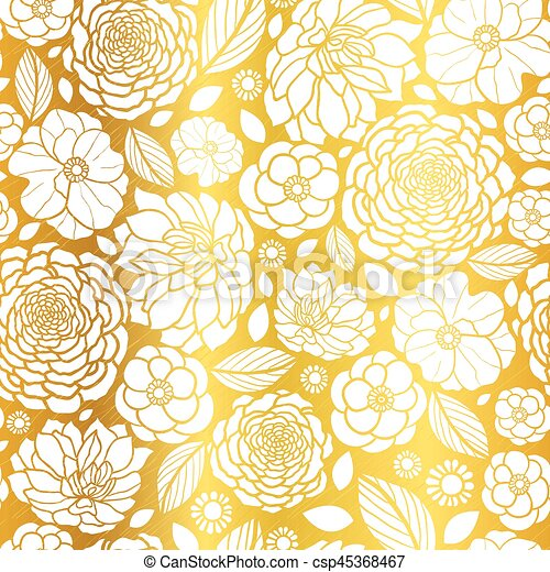 vector gold and white mosaic flowers seamless repeat pattern