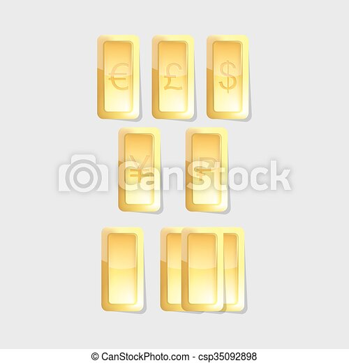 Vector Gold Bars With Symbols Of World Currency On Grey Background